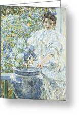 Woman With A Vase Of Irises Greeting Card by Robert Reid
