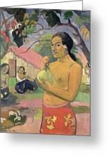 Woman With Mango Greeting Card by Paul Gauguin