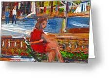 Woman With Orange Belt  Greeting Card by Edward Ching