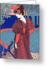 Woman With Peacocks Greeting Card by Louis John Rhead
