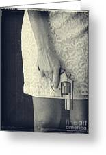 Woman With Revolver Greeting Card by Edward Fielding