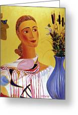 Woman With Shawl Greeting Card by Israel Tsvaygenbaum