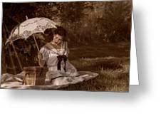 Woman with Umbrella  Greeting Card by Garett Gabriel