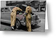 Women Auto Mechanics Greeting Card by Andrew Fare