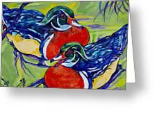 Wood Duck 2 Greeting Card by Derrick Higgins