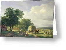 Wooded Landscape With Haymakers Greeting Card by Hendrick van de Sande Bakhuyzen