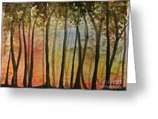Wooded Sunset Greeting Card by Bev Arnold