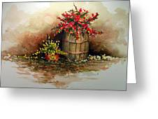 Wooden Barrel With Flowers Greeting Card by Sam Sidders