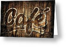 Wooden Cafe Sign Greeting Card by Sheena Pike
