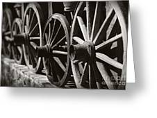 Wooden  Wagon Wheels Greeting Card by Martin Dzurjanik