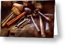Woodworker - A Collection Of Hammers  Greeting Card by Mike Savad