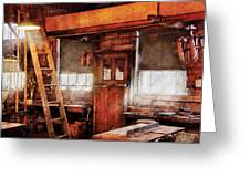 Woodworker - Old Workshop Greeting Card by Mike Savad
