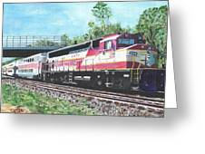 Worcester Bound T Train Greeting Card by Cliff Wilson