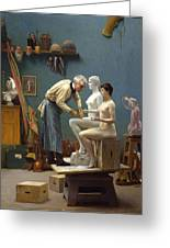 Working In Marble Greeting Card by Jean-Leon Gerome