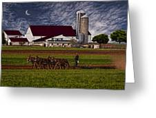 Working The Fields Greeting Card by Susan Candelario