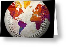 World Map - Rainbow Bliss Baseball Square Greeting Card by Andee Design