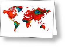 World Map 12 - Colorful Red Map By Sharon Cummings Greeting Card by Sharon Cummings