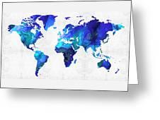 World Map 17 - Blue Art By Sharon Cummings Greeting Card by Sharon Cummings