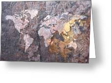 World Map on Stone Background Greeting Card by Michael Tompsett