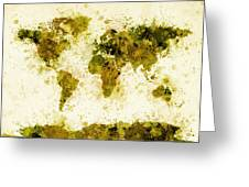 World Map Paint Splashes Yellow Greeting Card by Michael Tompsett
