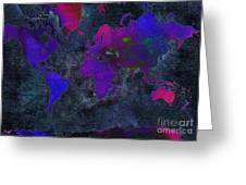 World Map - Purple Flip The Dark Night - Abstract - Digital Painting 2 Greeting Card by Andee Design