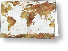 World Map Watercolor 3 Greeting Card by Paulette B Wright
