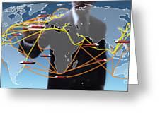 World Shipping Routes Map Greeting Card by Atiketta Sangasaeng