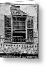Worn Window - Bw Greeting Card by Christopher Holmes