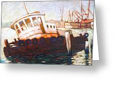 Wrecked Tug Greeting Card by Charles Munn