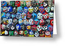Wrestling Masks of Lucha Libre Greeting Card by Jim Fitzpatrick
