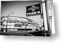 Wrigley Field And Wrigleyville Signs In Black And White Greeting Card by Paul Velgos