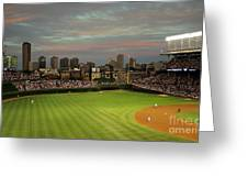 Wrigley Field At Dusk Greeting Card by John Gaffen