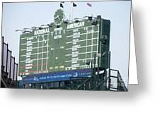 Wrigley Field Scoreboard Sign Greeting Card by Paul Velgos