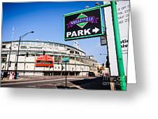 Wrigleyville Sign And Wrigley Field In Chicago Greeting Card by Paul Velgos