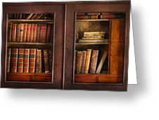 Writer - Books - The book cabinet  Greeting Card by Mike Savad