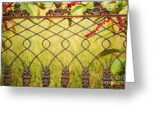 Wrought Iron With Red And Green Greeting Card by Kathleen K Parker