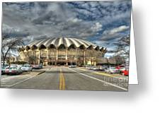 Wvu Basketball Coliseum Arena In Daylight Greeting Card by Dan Friend