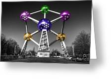 Xmas Atomium  Greeting Card by Rob Hawkins