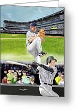 Yankees Vs Indians Greeting Card by Thomas J Herring