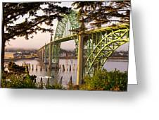 Yaquina Bay Bridge Morning Light Greeting Card by Darren  White