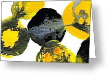 Yellow And Gray Interactions 4 Greeting Card by Amy Vangsgard