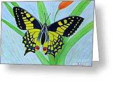 Yellow Butterfly Greeting Card by Peggy Miller