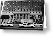 Yellow Cabs Go Past Pennsylvania Hotel On 7th Avenue New York City Usa Greeting Card by Joe Fox