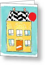 Yellow Flower House Greeting Card by Linda Woods