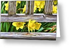 Yellow Flowers By The Bench Greeting Card by David Letts