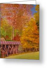 Yellow Maple Tree Near Old Mill Greeting Card by Anne-Elizabeth Whiteway