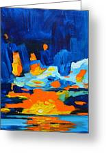 Yellow Orange Blue Sunset Landscape Greeting Card by Patricia Awapara