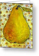 Yellow Pear On Squares Greeting Card by Blenda Studio