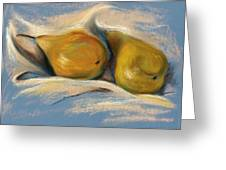 Yellow Pears On Blue Paper Pastel Drawing Greeting Card by MM Anderson
