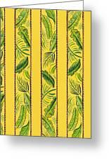 Yellow Striped Palms Textile Pattern Greeting Card by John Keaton